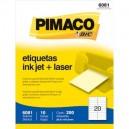 Etiqueta Branca Inkjet + Laser Carta 25,4x101,6mm Ref. 6081 Cx/200 (10 PG x 20 UN)